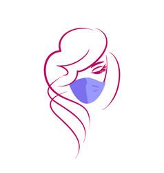 Girl in a medical mask - logo female face in a pr vector