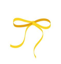 gold bow cartoon yellow ribbon satin bow for xmas vector image