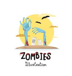 halloween poster with zombies hands in graveyard vector image