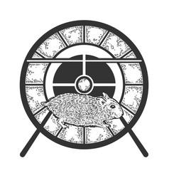 Hamster run in wheel sketch engraving vector