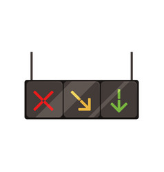 Hanging lane-control lights with red cross yellow vector