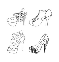 high-heeled shoes for woman fashion footwear set vector image