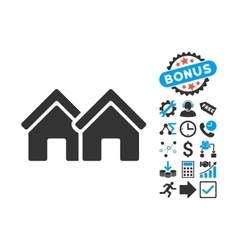 Houses Flat Icon with Bonus vector image