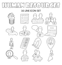 Human resources icons set outline style vector