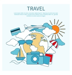 International travel by airplane vector