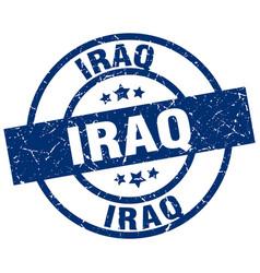 Iraq blue round grunge stamp vector