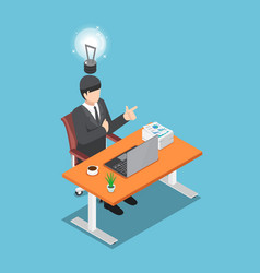 isometric businessman sitting on his desk and got vector image