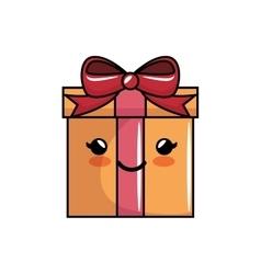 Kawaii gift box bow present icon vector