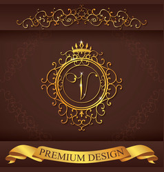 Letter V Luxury Logo template flourishes vector