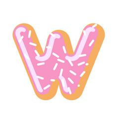 Letter w donut font doughnut alphabet sweet vector