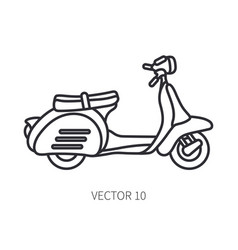 line icon retro tourism scooter classic vector image
