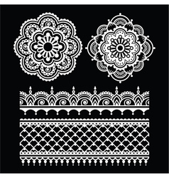 Mehndi Indian Henna tattoo white seamless pattern vector