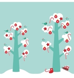 Merry Christmas card design trees with white snow vector image