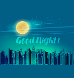Modern city panoramic cityscape good night vector
