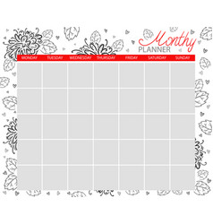 monthly planner calendar for the month vector image