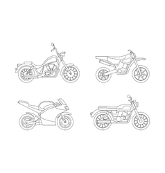Motorcycle line icons set vector