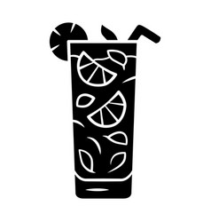 Moxito glyph icon mojito cocktail in highball vector