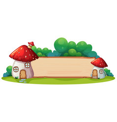 mushroom house with wooden board vector image