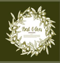 Olive fruit wreath sketch poster for food design vector