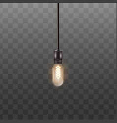 one 3d light bulb hanging on long wire in vector image