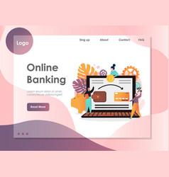 Online banking website landing page design vector