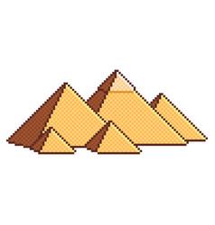 Pixel egyptian pyramids wonders of the world vector