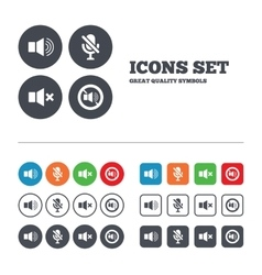 Player control icons Sound microphone and mute vector image