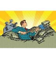 Retro businessman digs up money from the ground vector image