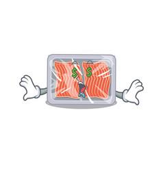Rich cartoon character design frozen salmon vector