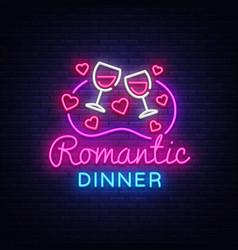 Romantic dinner neon logo wine neon sign vector