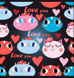 seamless festive pattern cats in love with vector image