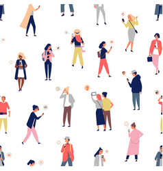 seamless pattern with crowd people using vector image