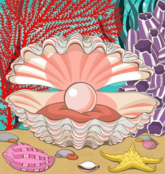 Seashell with Pearl Underwater vector image