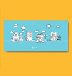 Set of buildings in flat linear style in black and vector