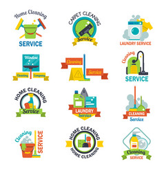 Set of cleaning service emblems labels design home vector