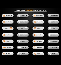Set of simple grey e-shop buttons vector