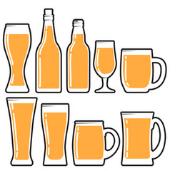 set various beer bottles mugs and glases vector image