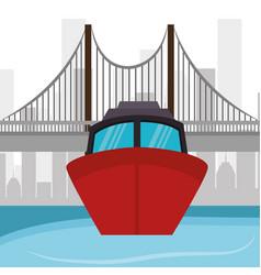 ship boat river bridge and city vector image