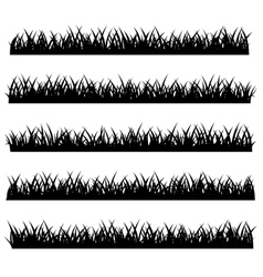 silhouette grass set isolated on white vector image