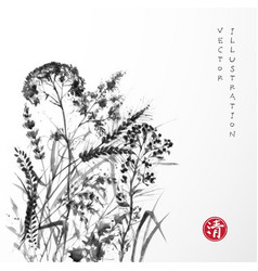 silhouettes meadow grass on white background vector image