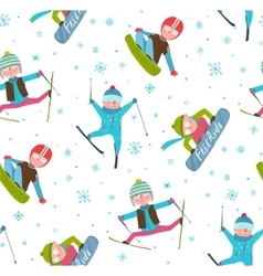 Skier Snowboarder Winter Sport Cartoon Seamless vector