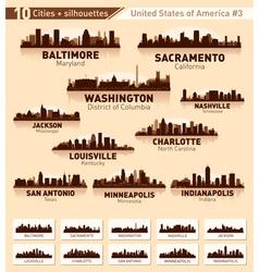 Skyline city set 10 cities usa 3 vector