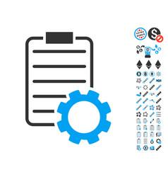 smart contract gear icon with bonus symbols vector image