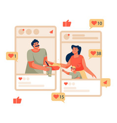 social media concept man prepares food and gives vector image