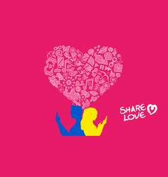 social media young couple internet love design vector image
