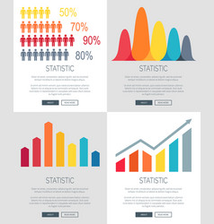 statistic presentation set of web page designs vector image