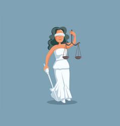 statue lady justice cartoon vector image