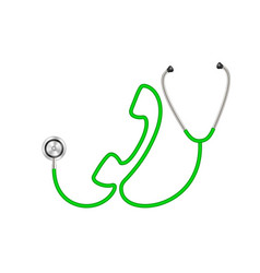 Stethoscope in shape of telephone in green design vector