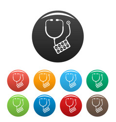 stethoscope pills icons set color vector image