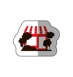 Sticker of red supermarket and trees on the vector